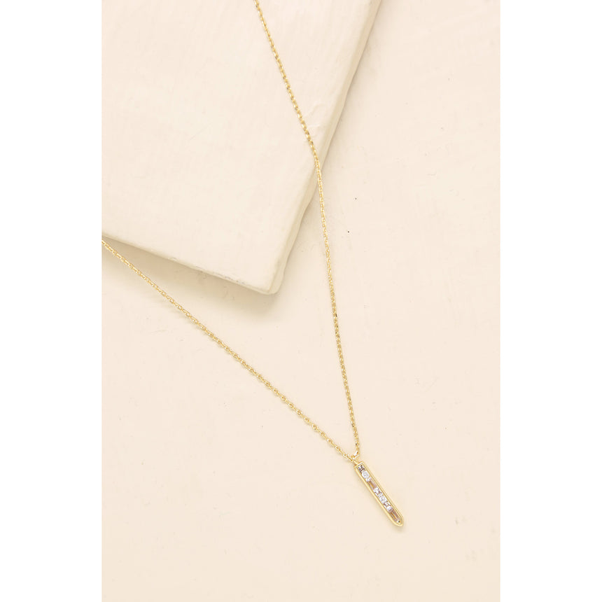 Dainty Crystal Bar Drop Necklace