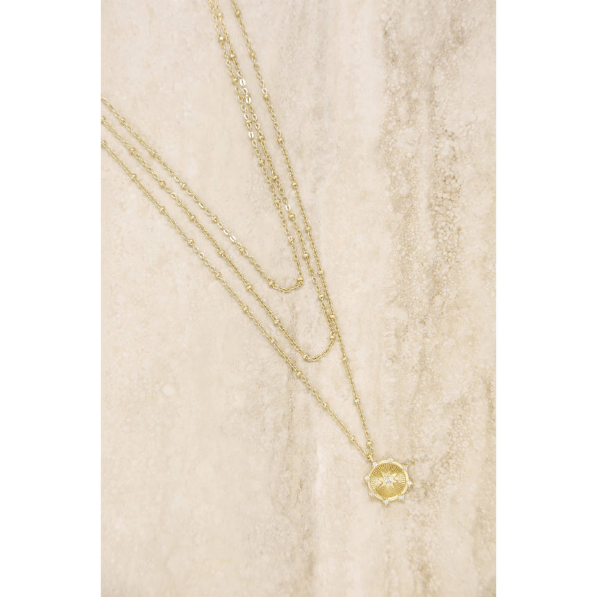 Compass Keepsake Layered Necklace In Gold