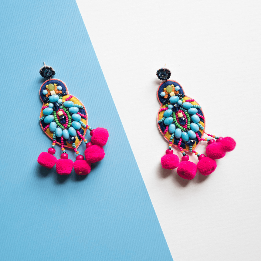 Beaded Pink Pom Pom Earrings - Arlo and Arrows