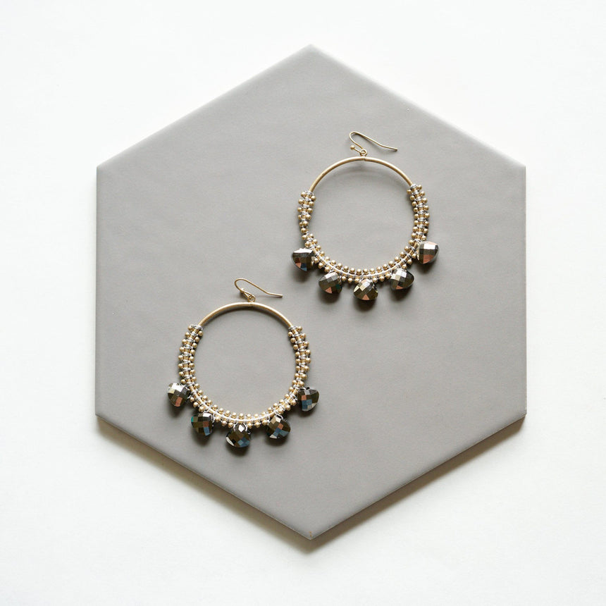 Smokey Hematite Crystal Hoop Earrings - Arlo and Arrows