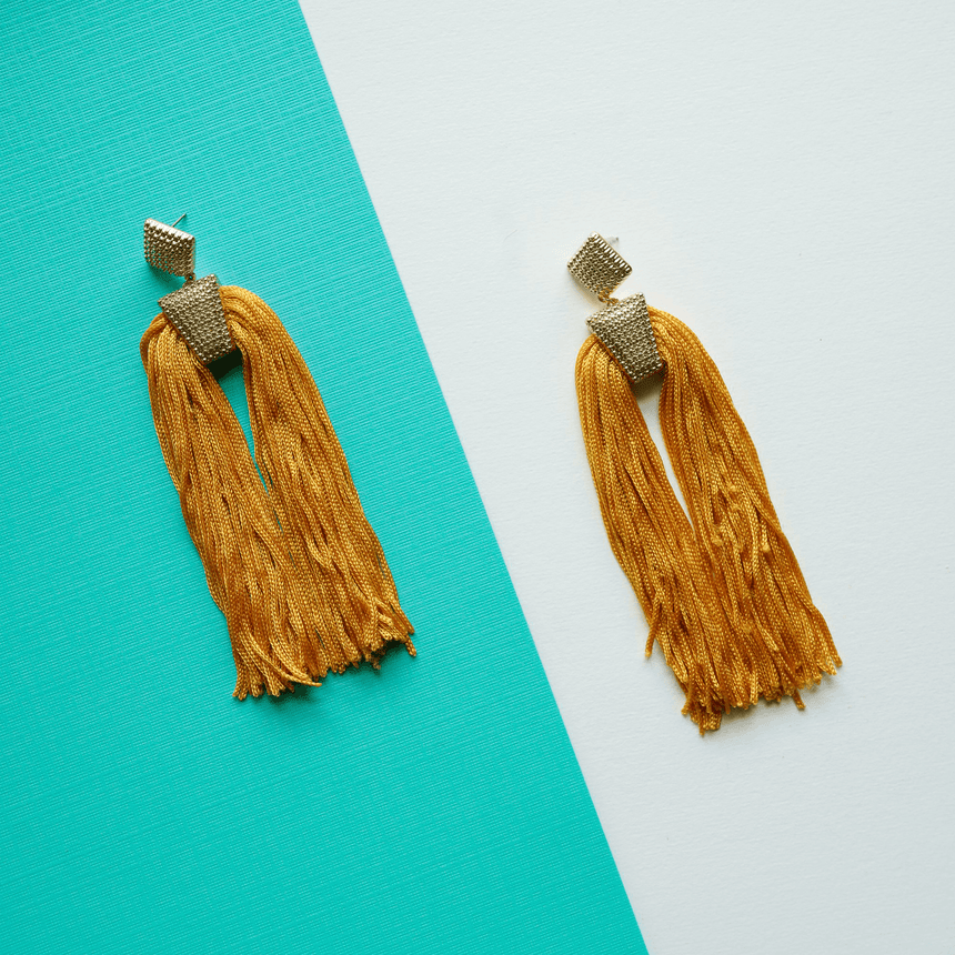 Gold Double Tassel Earrings - Arlo and Arrows