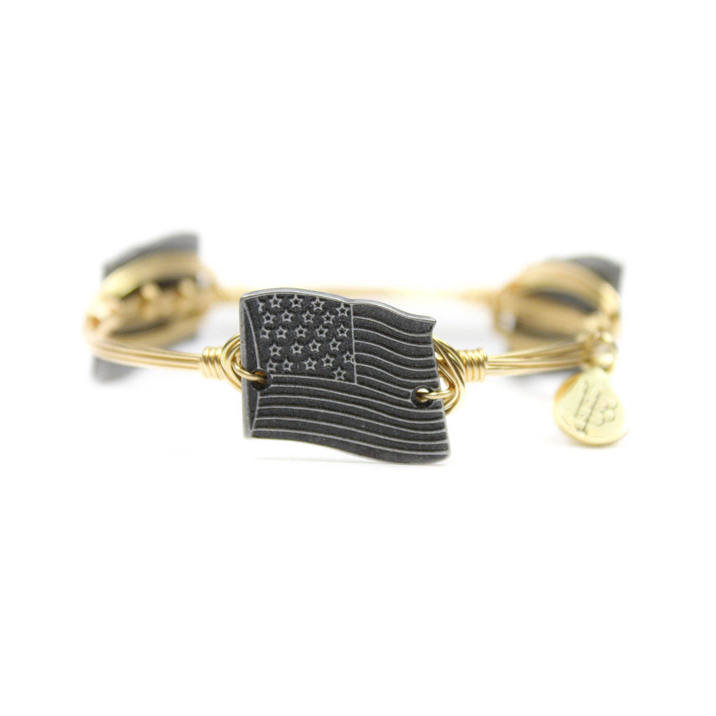 Pewter American Flag Bangle Bracelet - Arlo and Arrows
