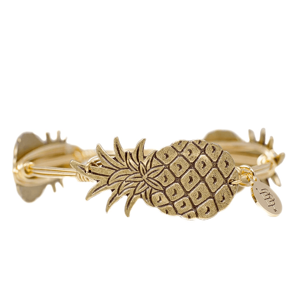 Gold Pineapple Bangle Bracelet - Arlo and Arrows