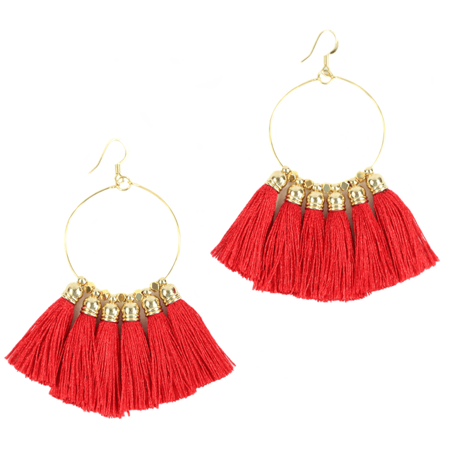 Red Tassel Earrings - Bourbon and Boweties