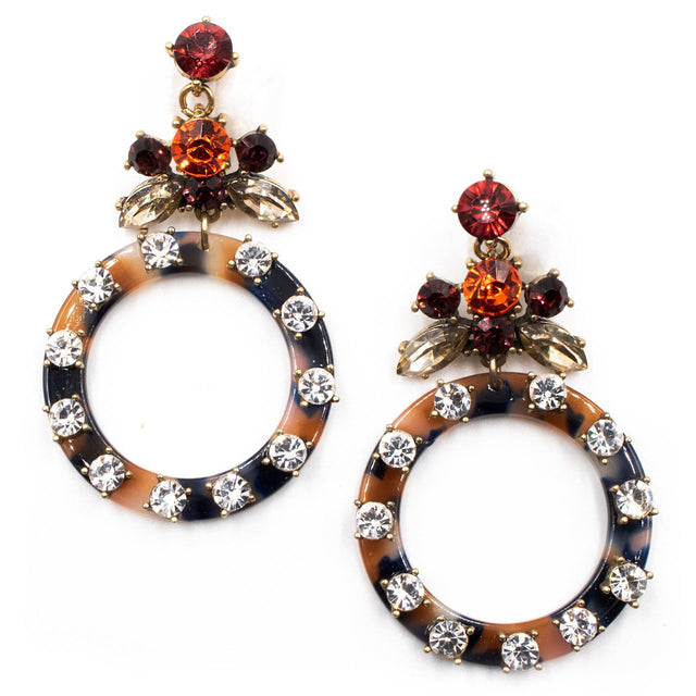 Resin Rhinestone Hoop Earrings