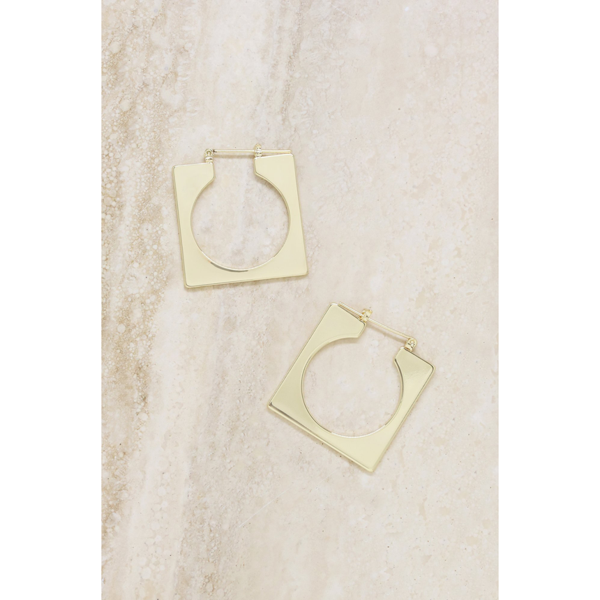 Squared Off Hoops In Gold