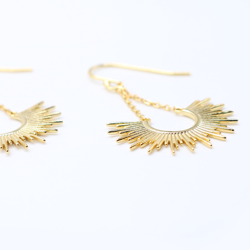 14 Karat Gold Plated Sunburst Earrings