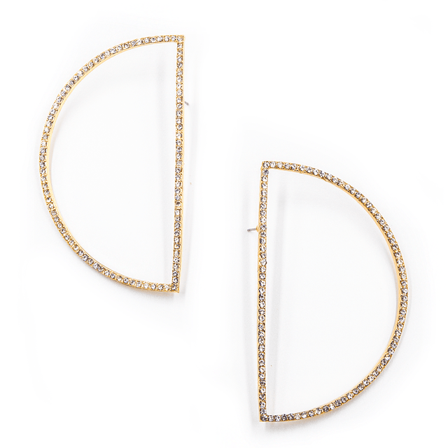 Bold Half Circle Open Cut Rhinestone Earrings - Arlo and Arrows