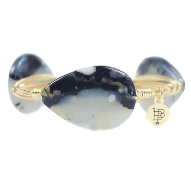 White And Blue Marble Bangle Bracelet