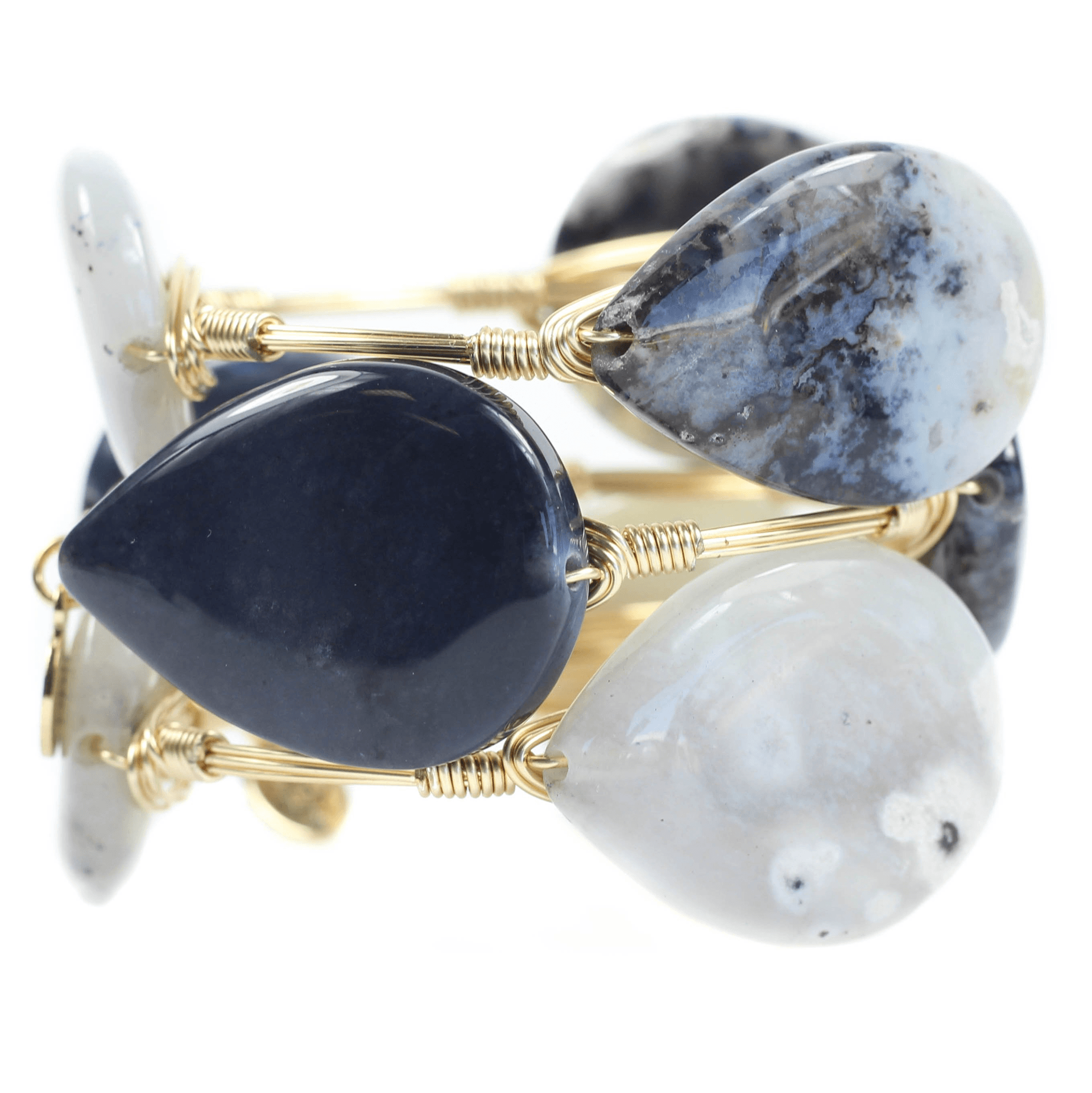White And Blue Marble Bangle Bracelets