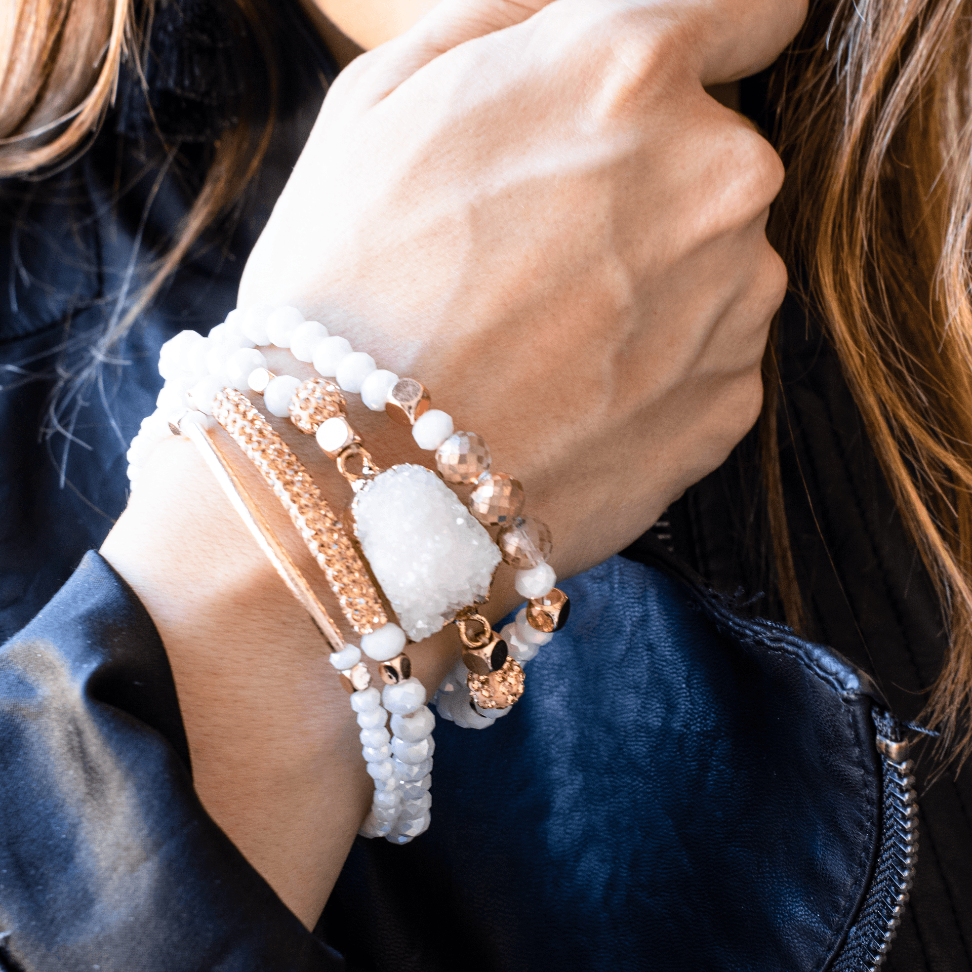 Mixed Bright White Bracelet Set