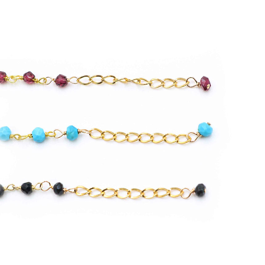 Turquoise 14 Karat Gold Plated Beaded Anklet
