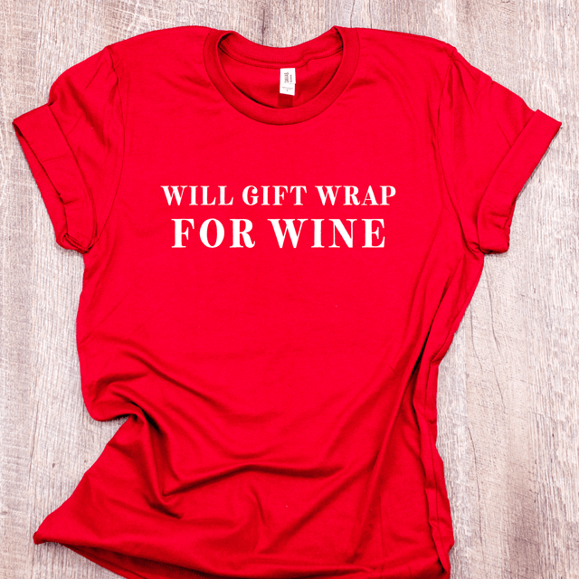 Women's Funny Christmas Shirt - 'Will Gift Wrap For Wine' by Arlo And Arrows