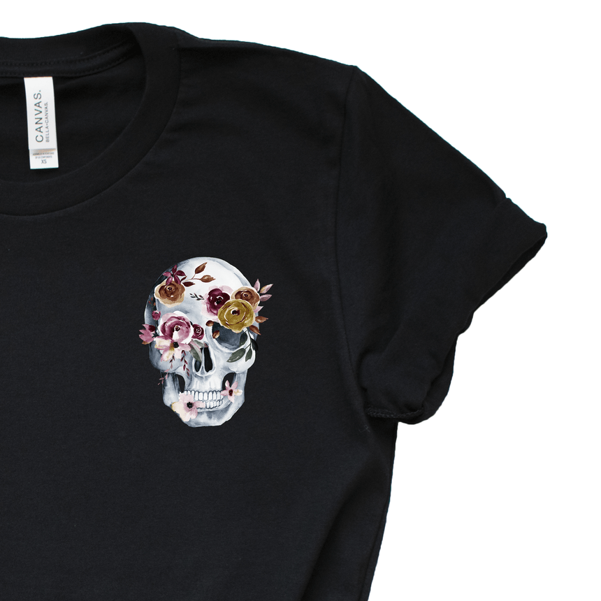 Women's Sugar Skull T-Shirt Close Up