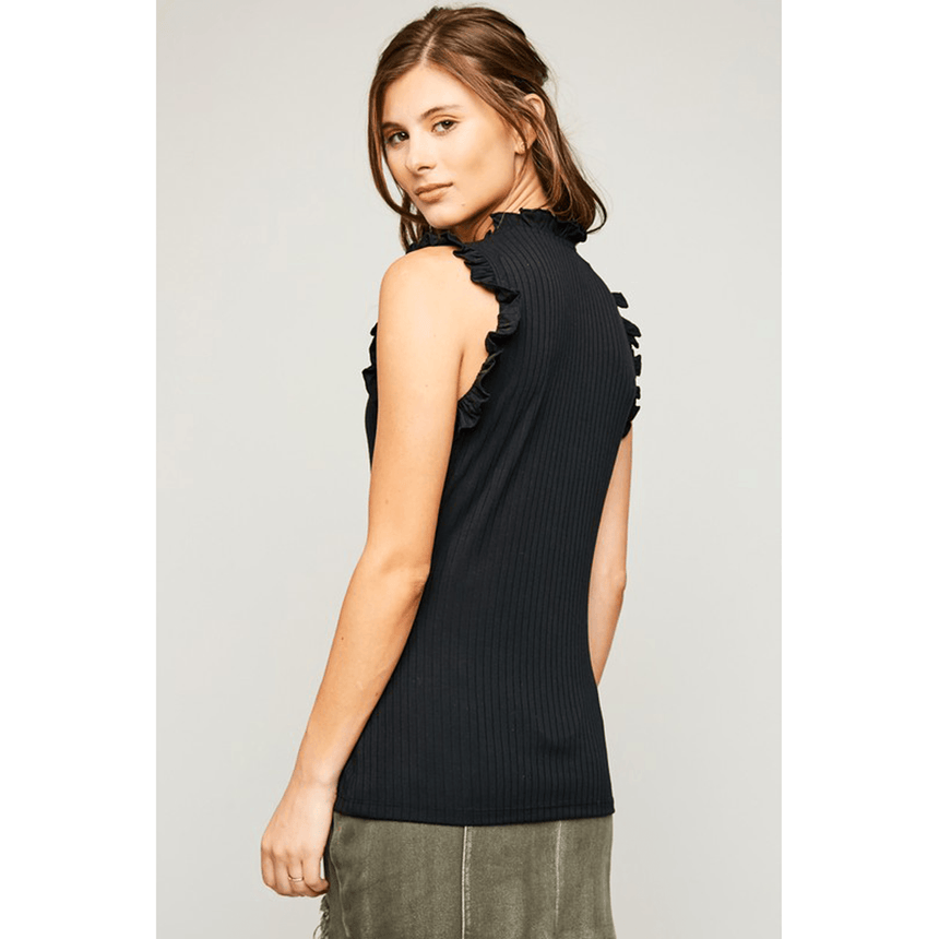 Women's Ruffled Mock Neck Tank Top (2 Colors) - Arlo and Arrows