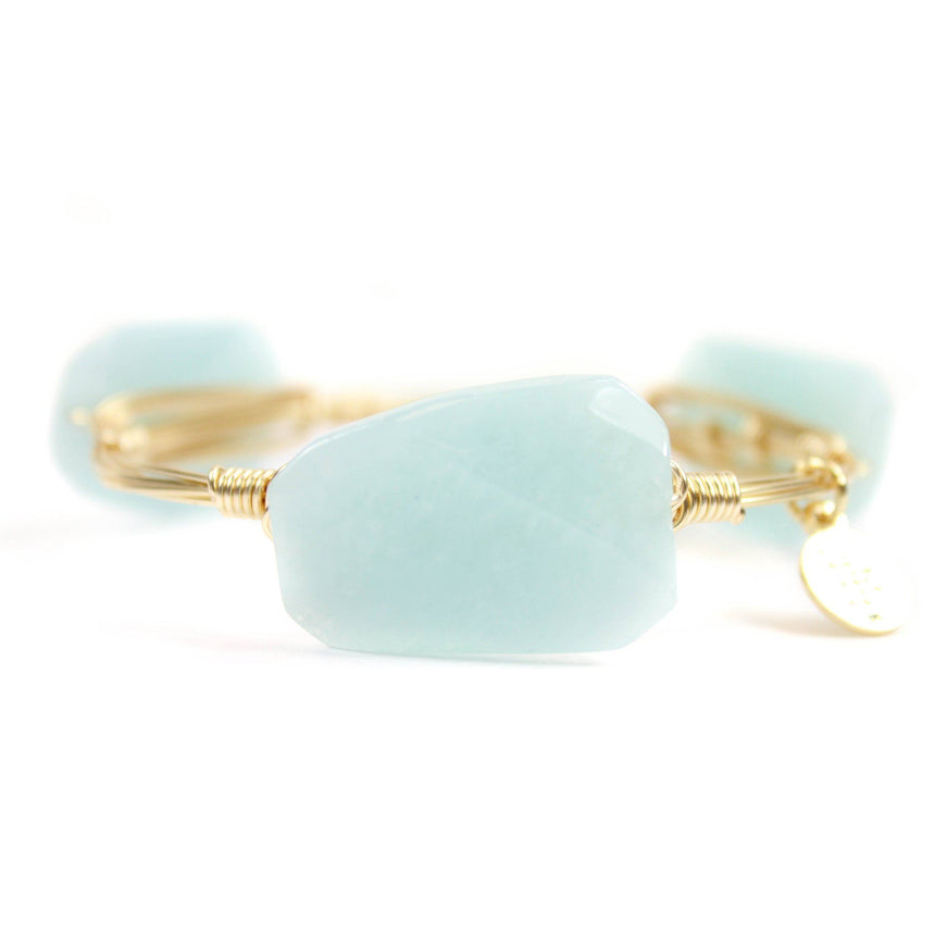 Women's Baby Blue and Gold Bangle Bracelet