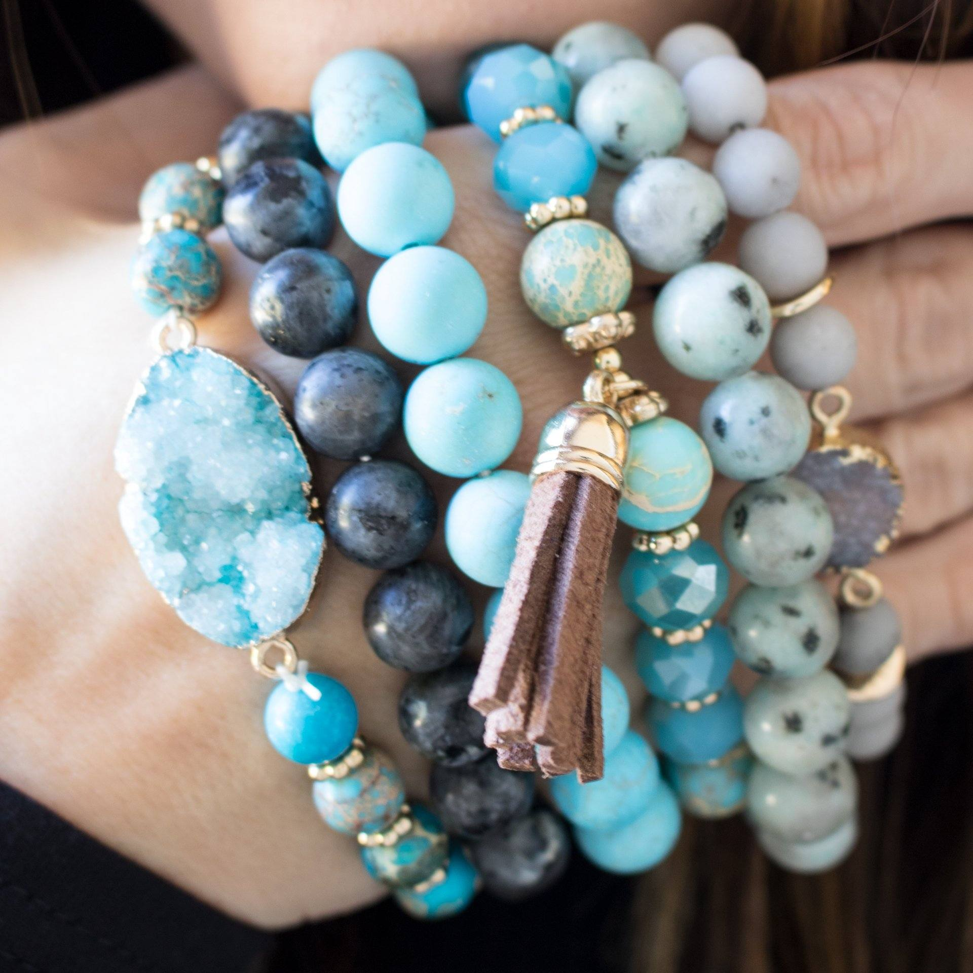 Beaded Druzy Stretch Bracelet