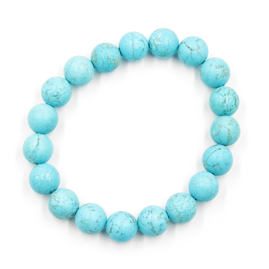 Matte Turquoise Beaded Stretch Bracelet - Arlo and Arrows