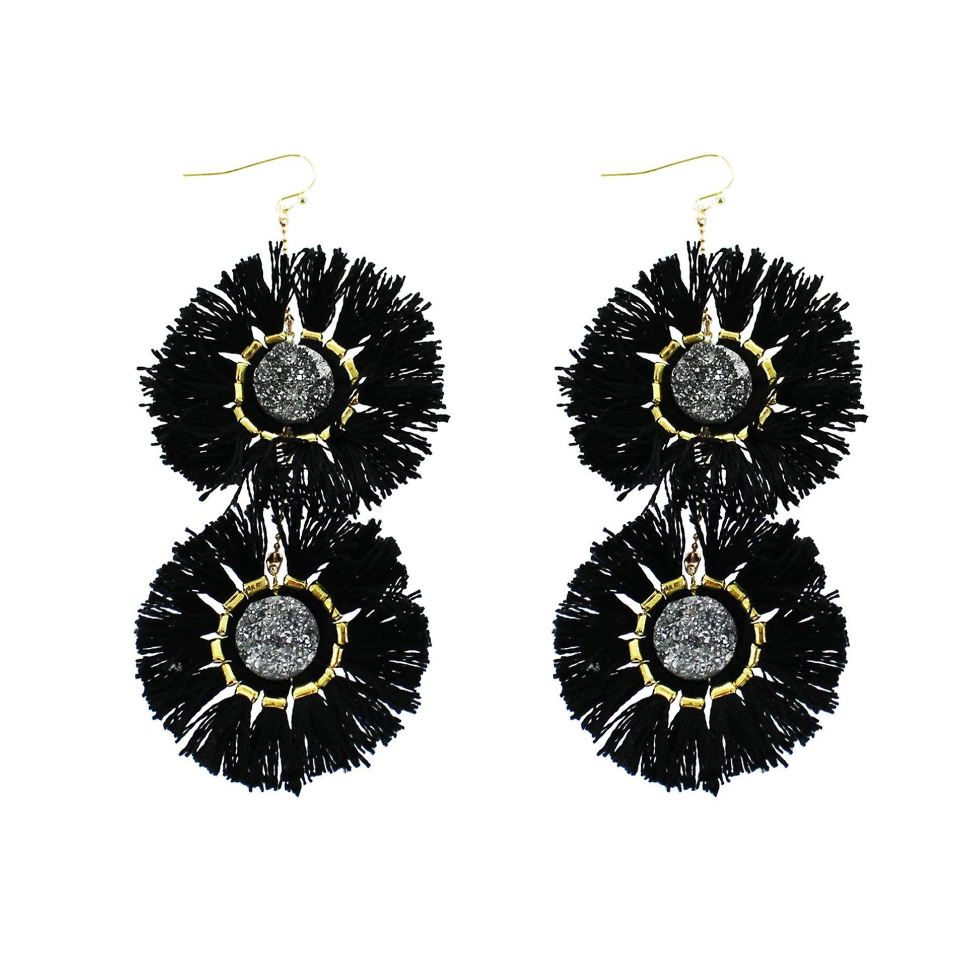'Kayla' Hematite Druzy Fringe Earrings - Arlo and Arrows