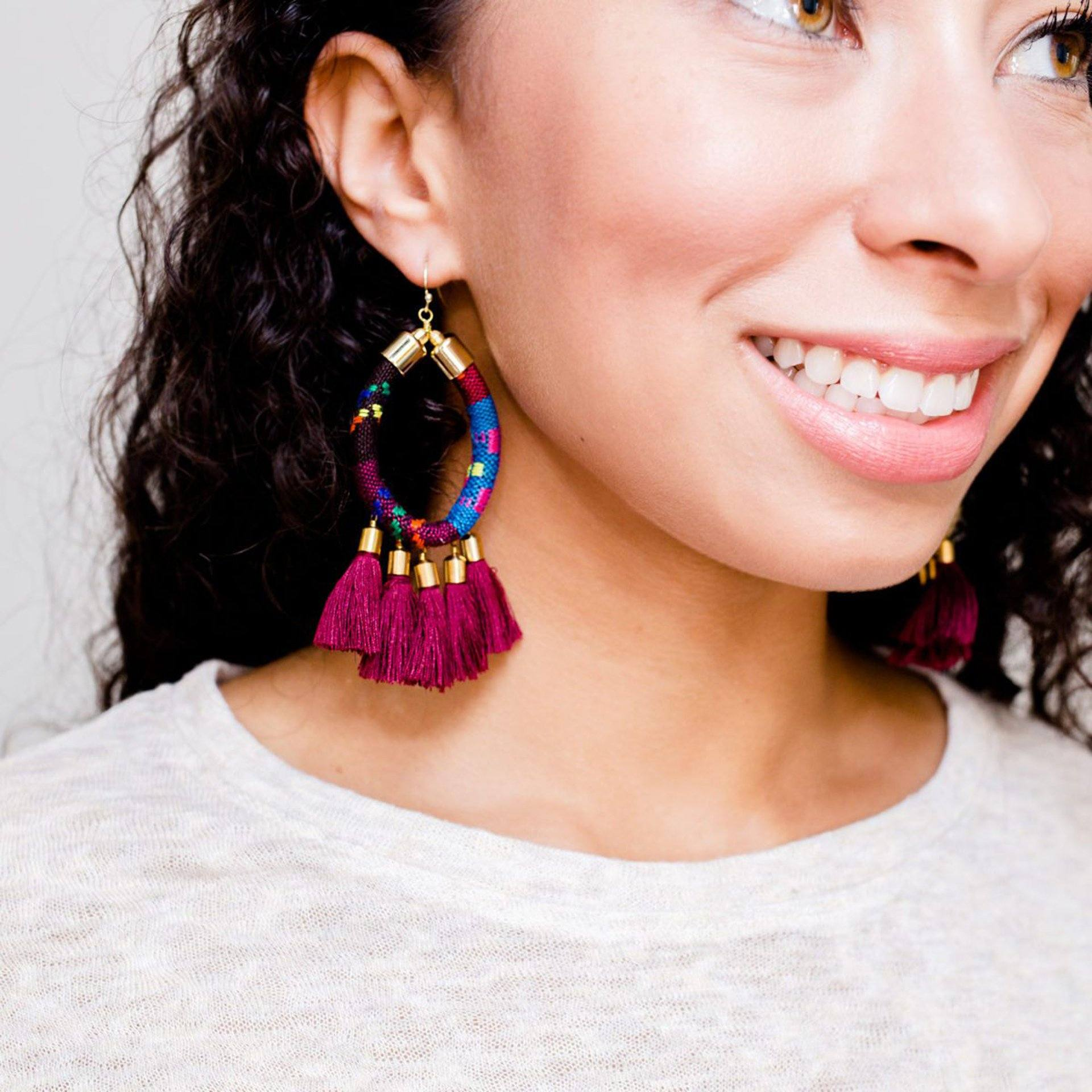 'Take Me Downtown' Woven Tassel Statement Earrings in Burgundy - Arlo and Arrows