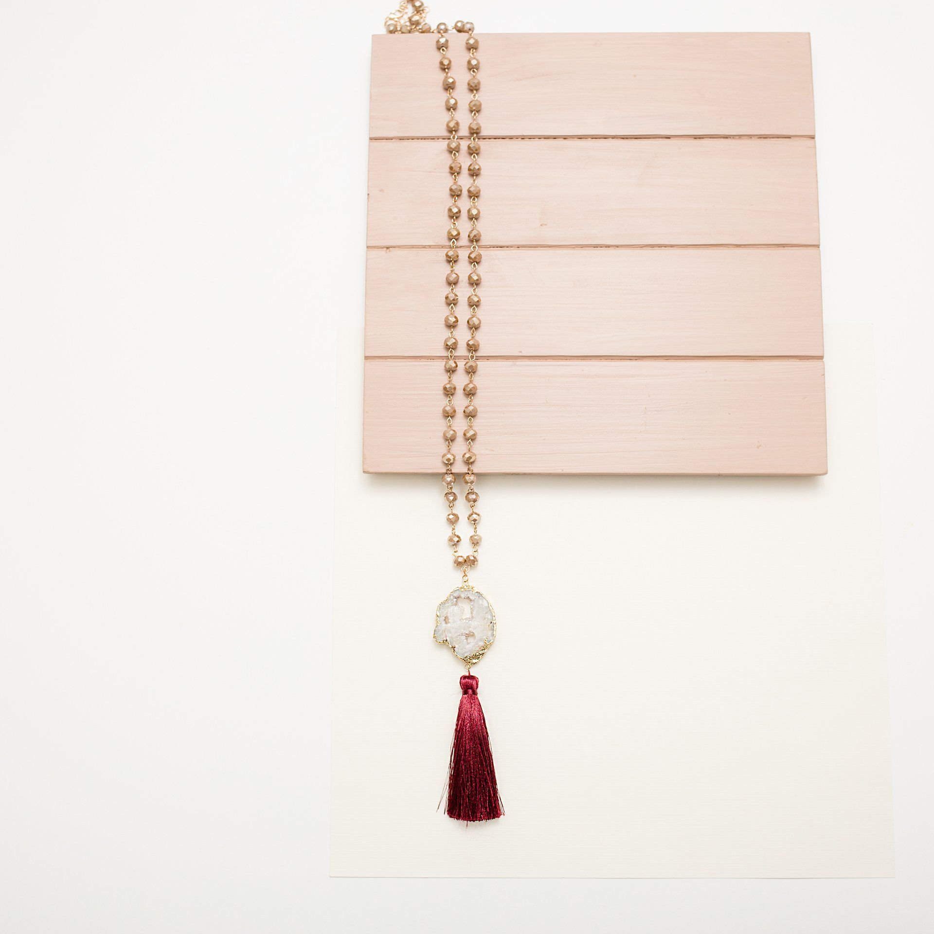 'A Glass of Port Wine' Crystal and Tassel Pendant Necklace - Arlo and Arrows