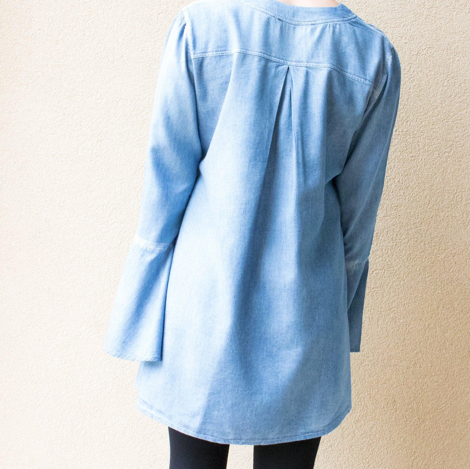 Lace Up Chambray Tunic Top with Bell Sleeves - Arlo and Arrows