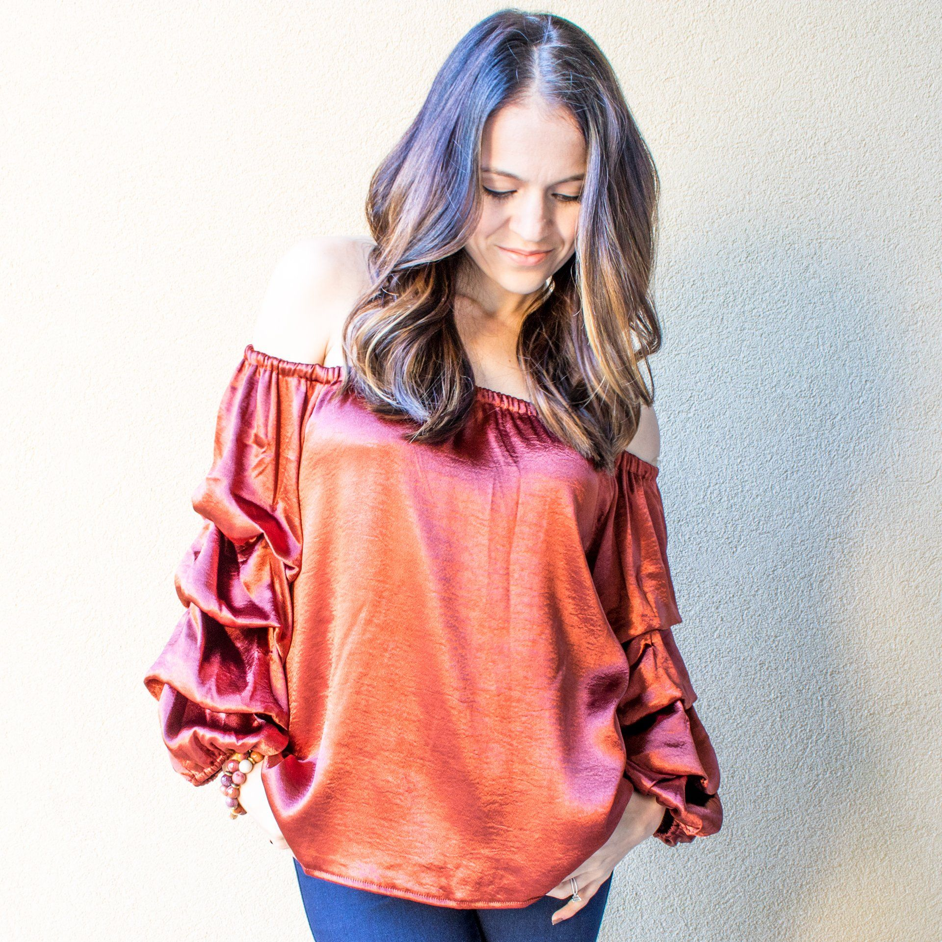 Copper Satin Blouse - Arlo and Arrows