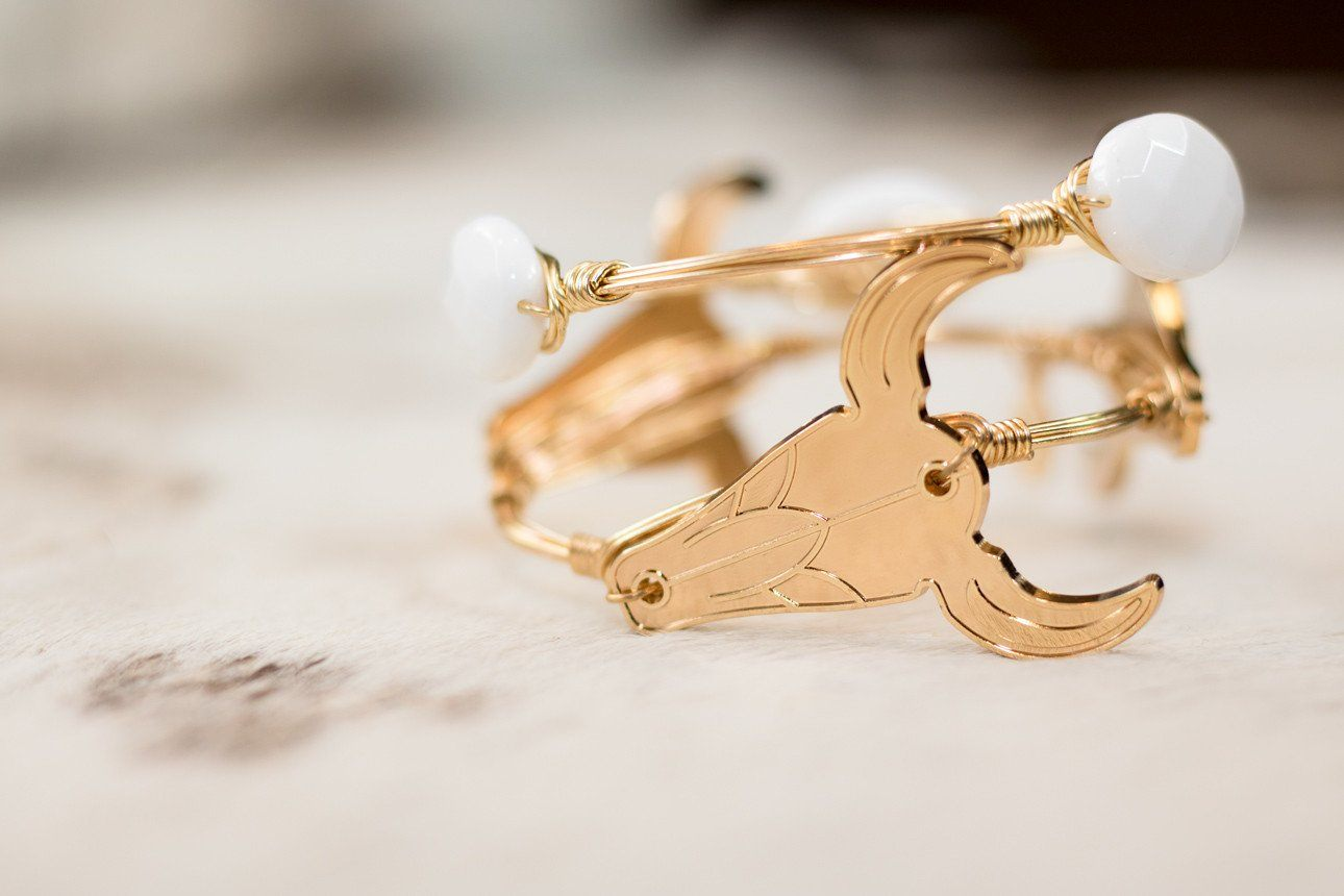 Gold Cow Head Bangle Bracelet - Arlo and Arrows
