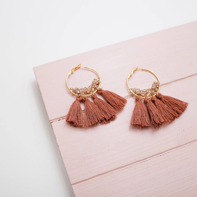'Cinnamon Spice' Crystal Tassel Statement Earrings - Arlo and Arrows
