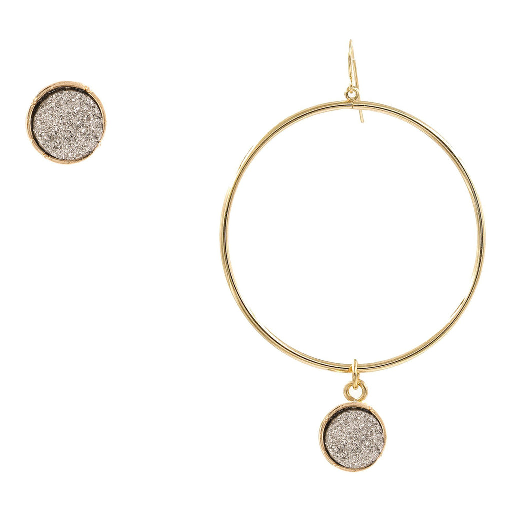Cassie Druzy Hoop And Stud MisMatch Earrings - Arlo and Arrows