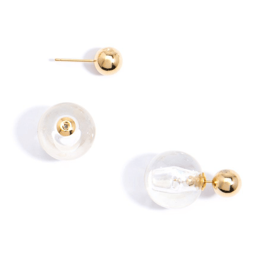 Floating Earring Gold Clear