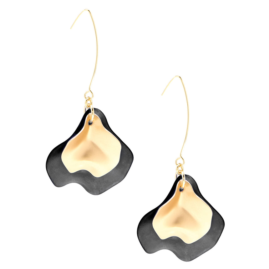 Sheer Layered Petals Gold Pull-Through Earring (2 Colors)