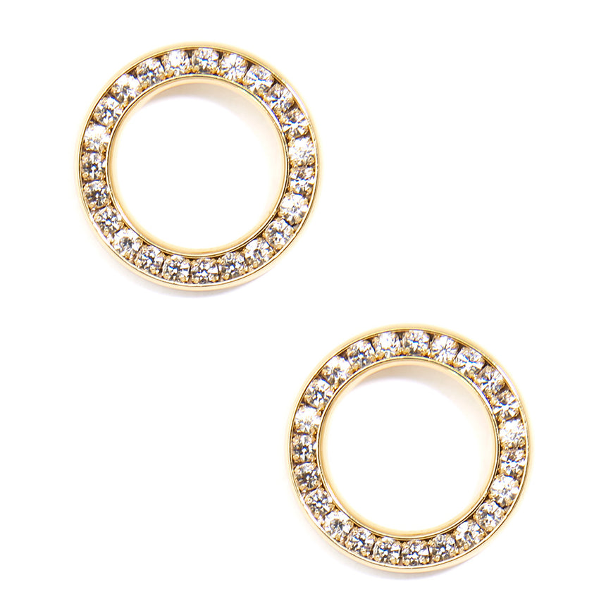 Pave Circle Stud Earring Jewelry