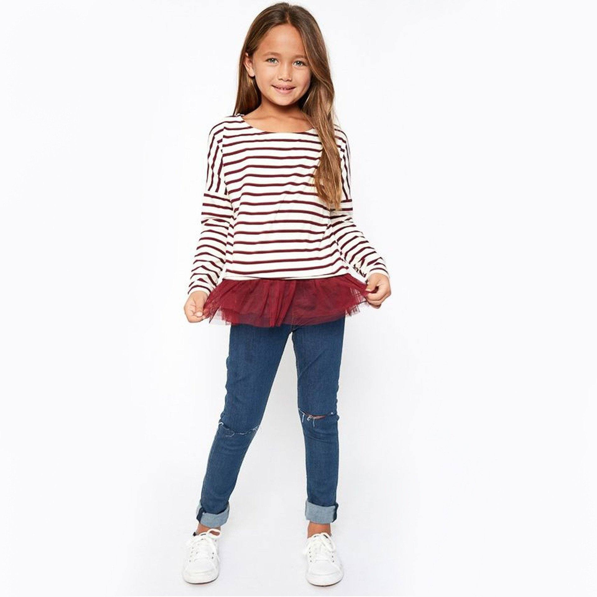 Striped Top With Tulle Hem (Girls Sz 7-14) - Arlo and Arrows