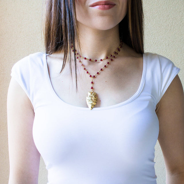Double Layer Lariat with Gold Arrow in Burgundy - Arlo and Arrows