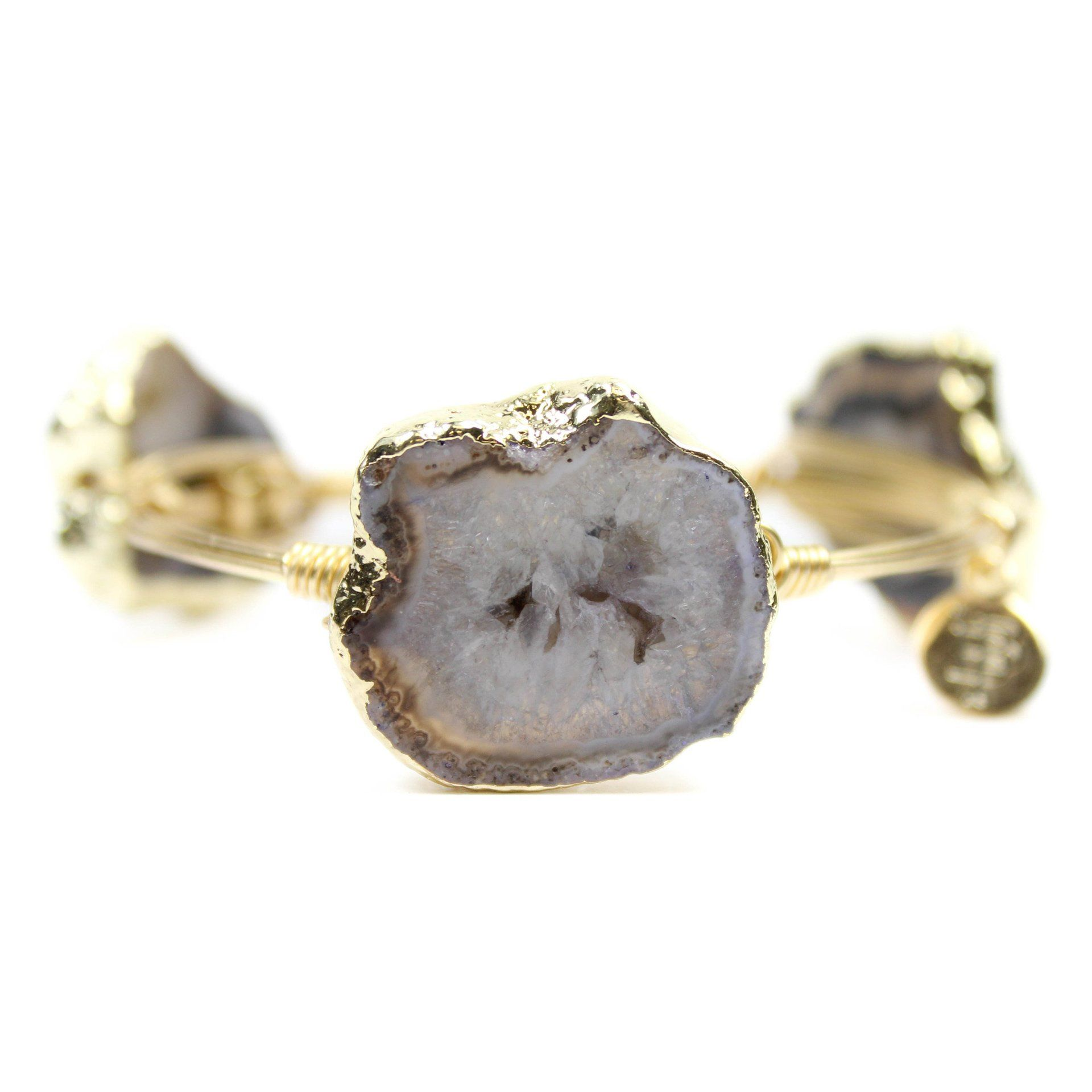Womens Gold Agate Stone Bangle Bracelet by Bourbon and Boweties