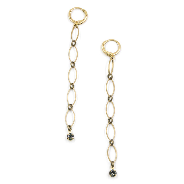 Dainty Drop Earrings with Crystal