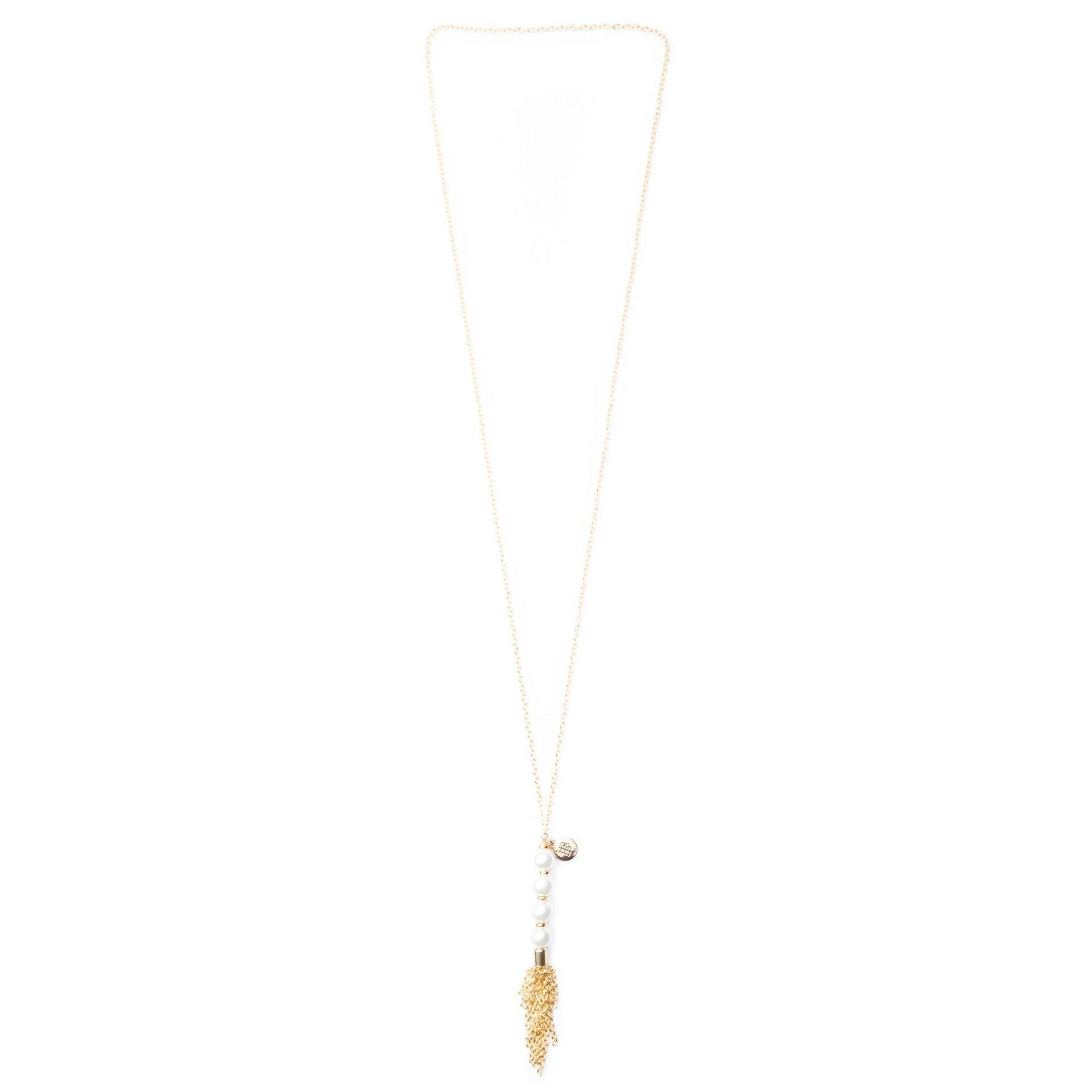 Gold Tassel Pearl Necklace