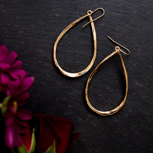 'Tina' Gold Twist Teardrop Earrings - Arlo and Arrows