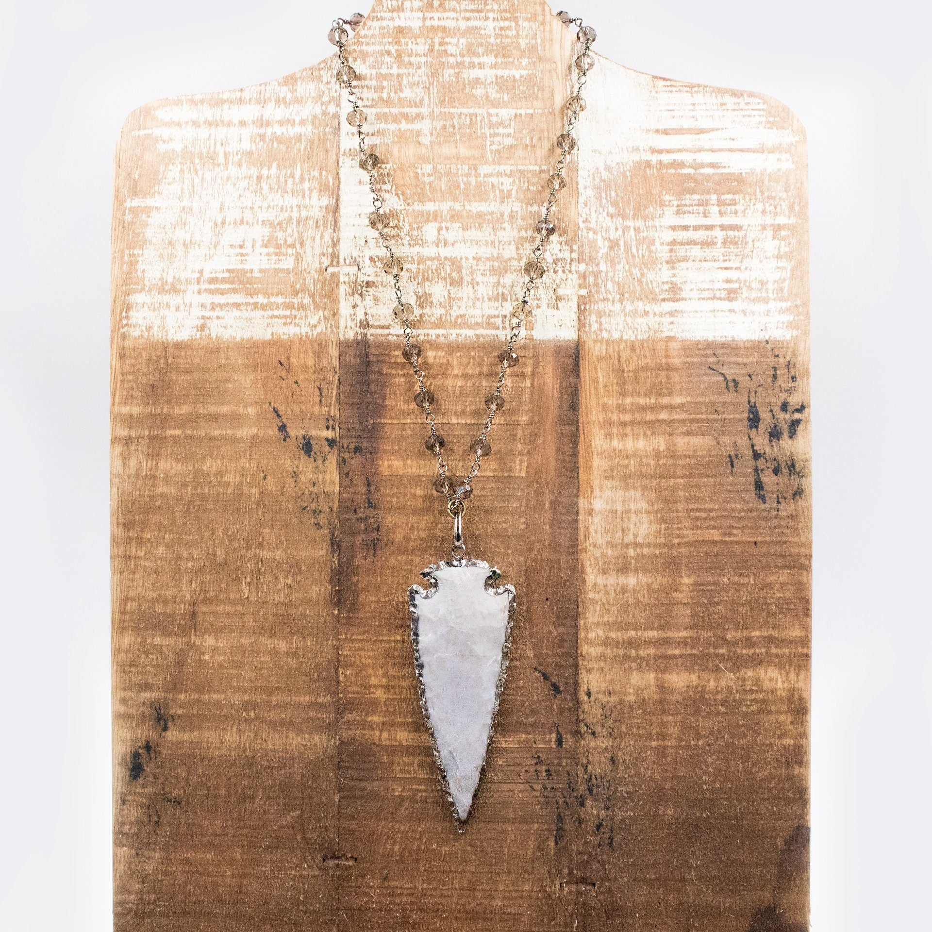 Gunmetal Arrow Head Necklace in Grey - Arlo and Arrows
