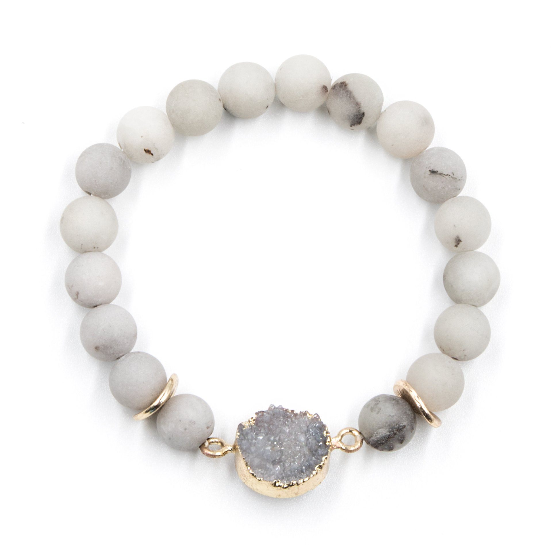 Matte Grey Beaded Bracelet with Silver Druzy - Arlo and Arrows