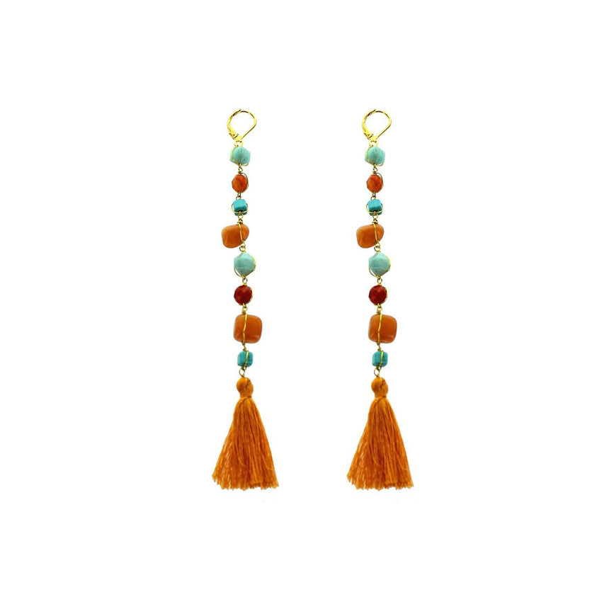 'Autumn Maple' Jasper Beaded Tassel Linear Earrings - Arlo and Arrows