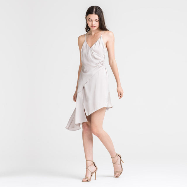 Asymmetrical Beige Satin Dress - Arlo and Arrows