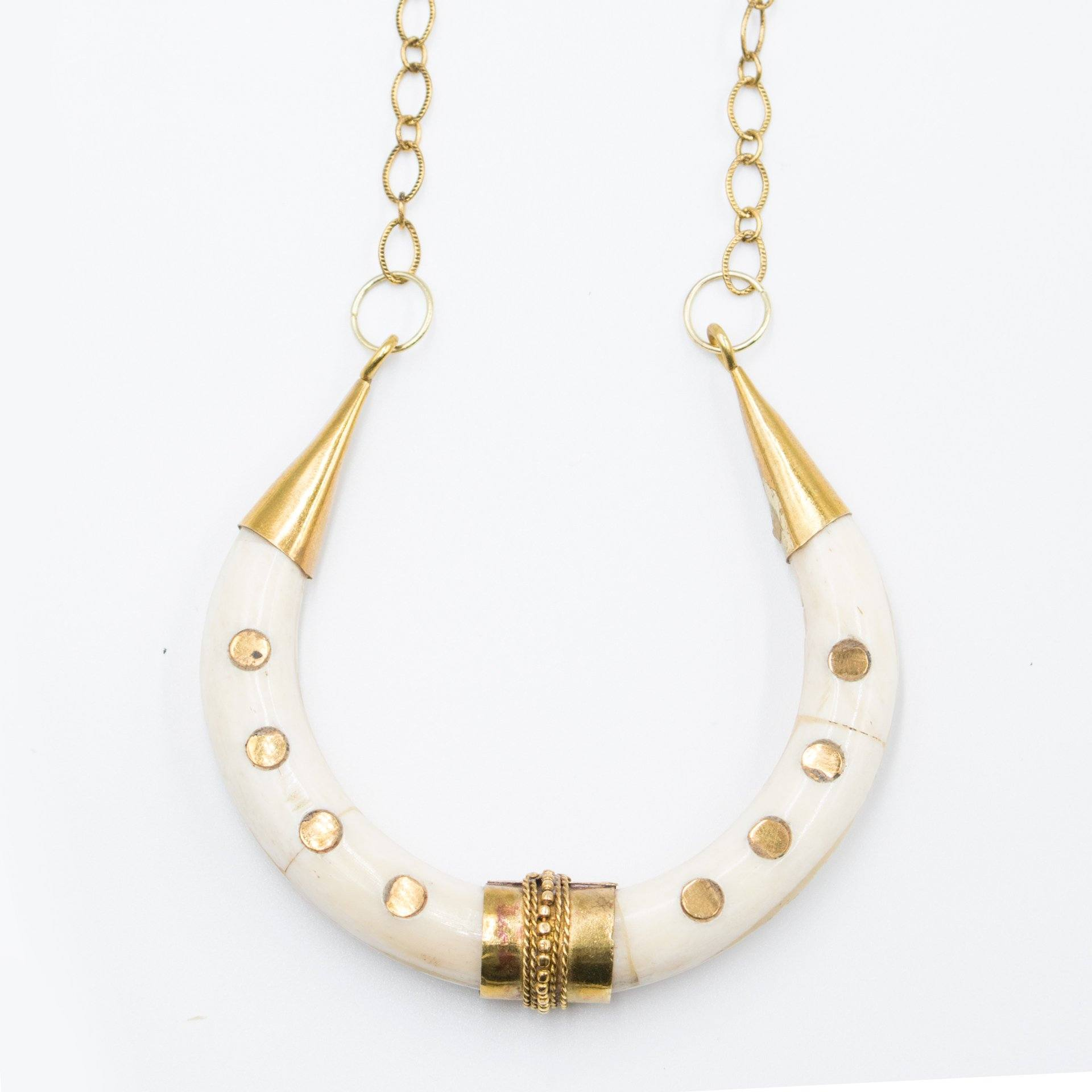 Gold Dotted Crescent Tusk Necklace - Arlo and Arrows