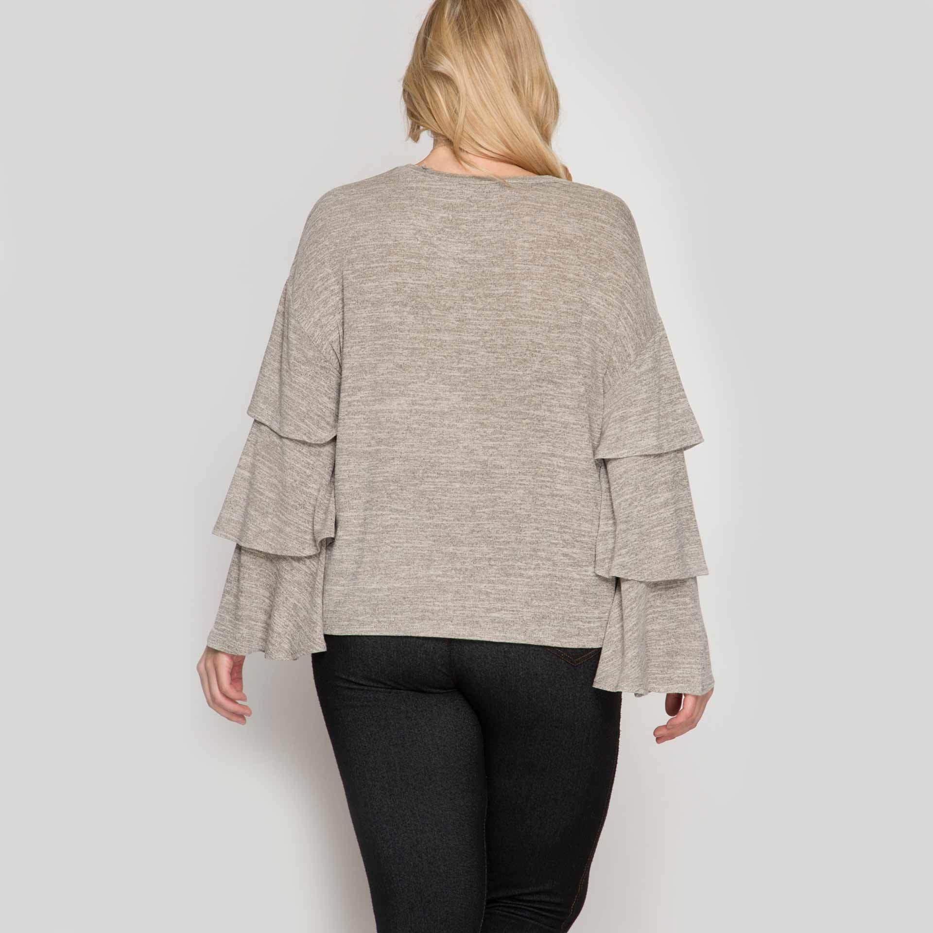 Plus Size Long Ruffled Bell Sleeve Two Tone Top in Taupe - Arlo and Arrows