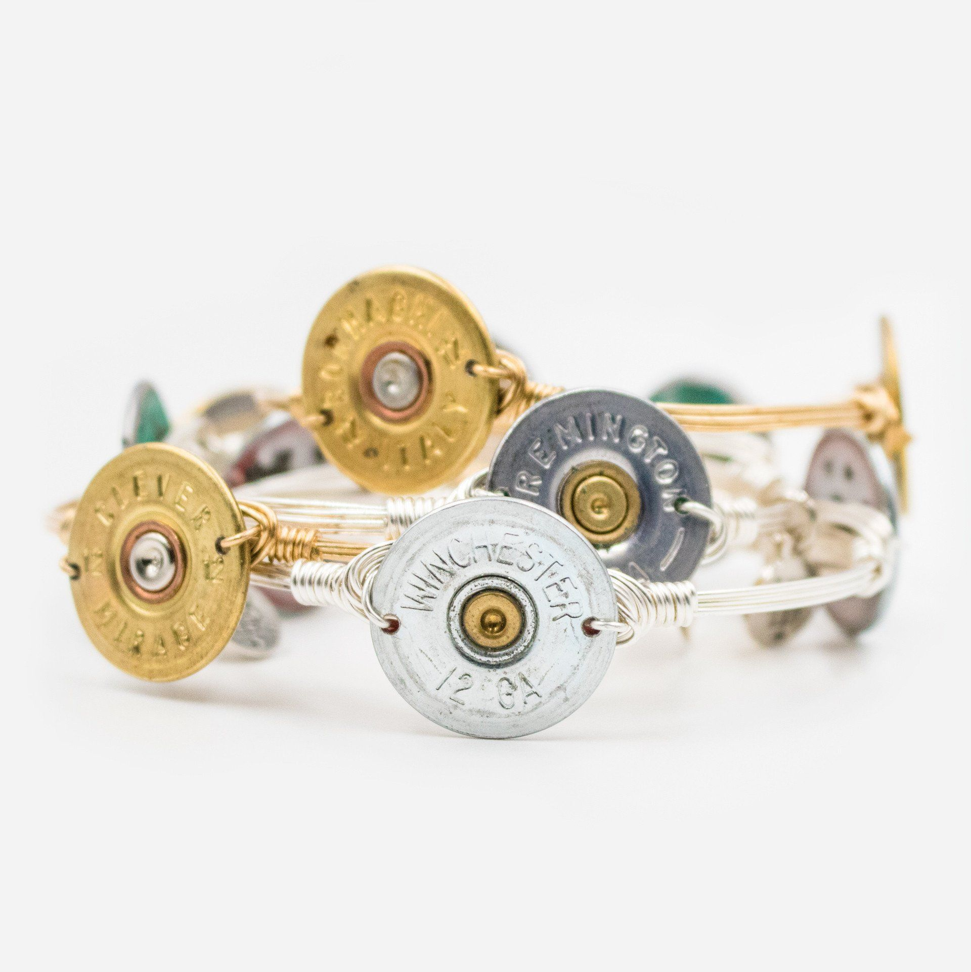 Pewter Authentic Shotgun Shell Bracelet On Silver - Arlo and Arrows