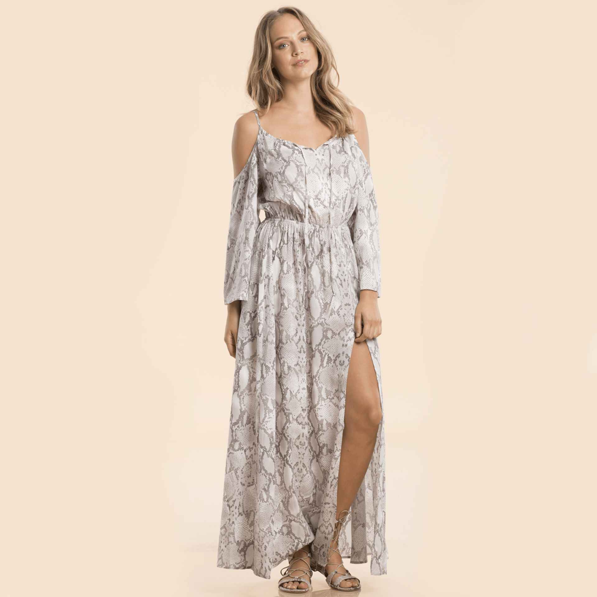 Long Sleeve Reptile Print Maxi Dress with Cold Shoulder and Slit - Arlo and Arrows