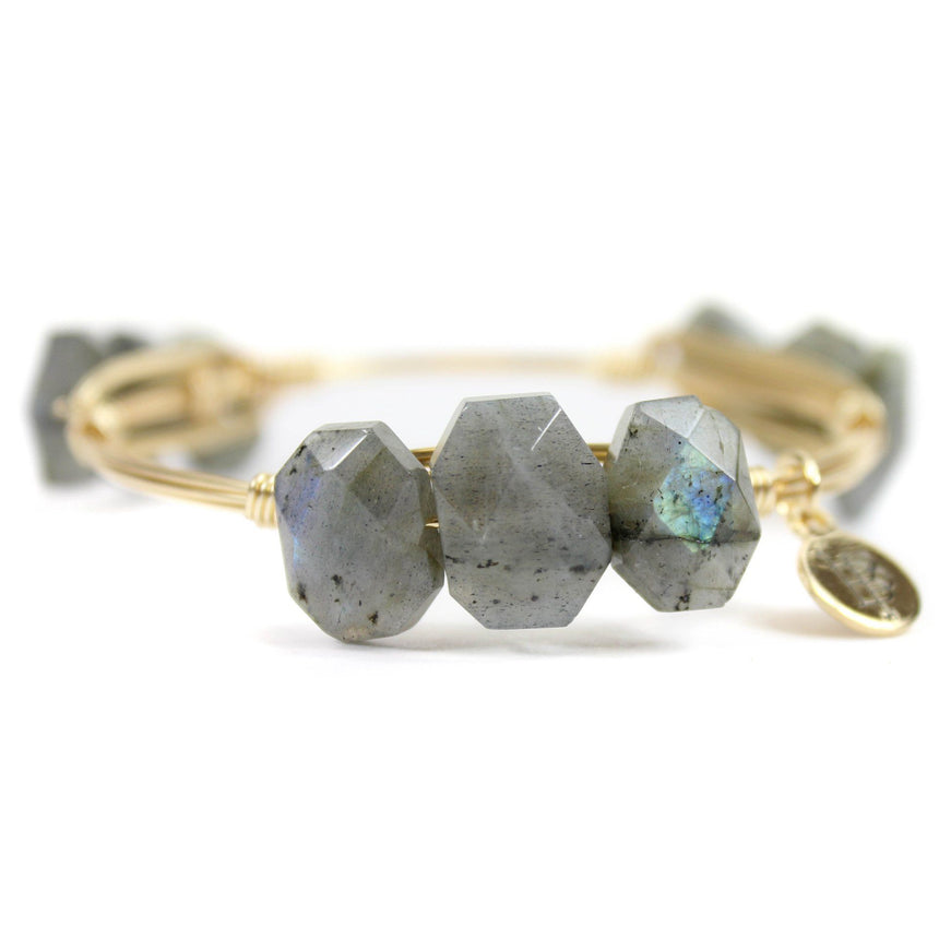 Iridescent stone bangle bracelet by Bourbon and Boweties