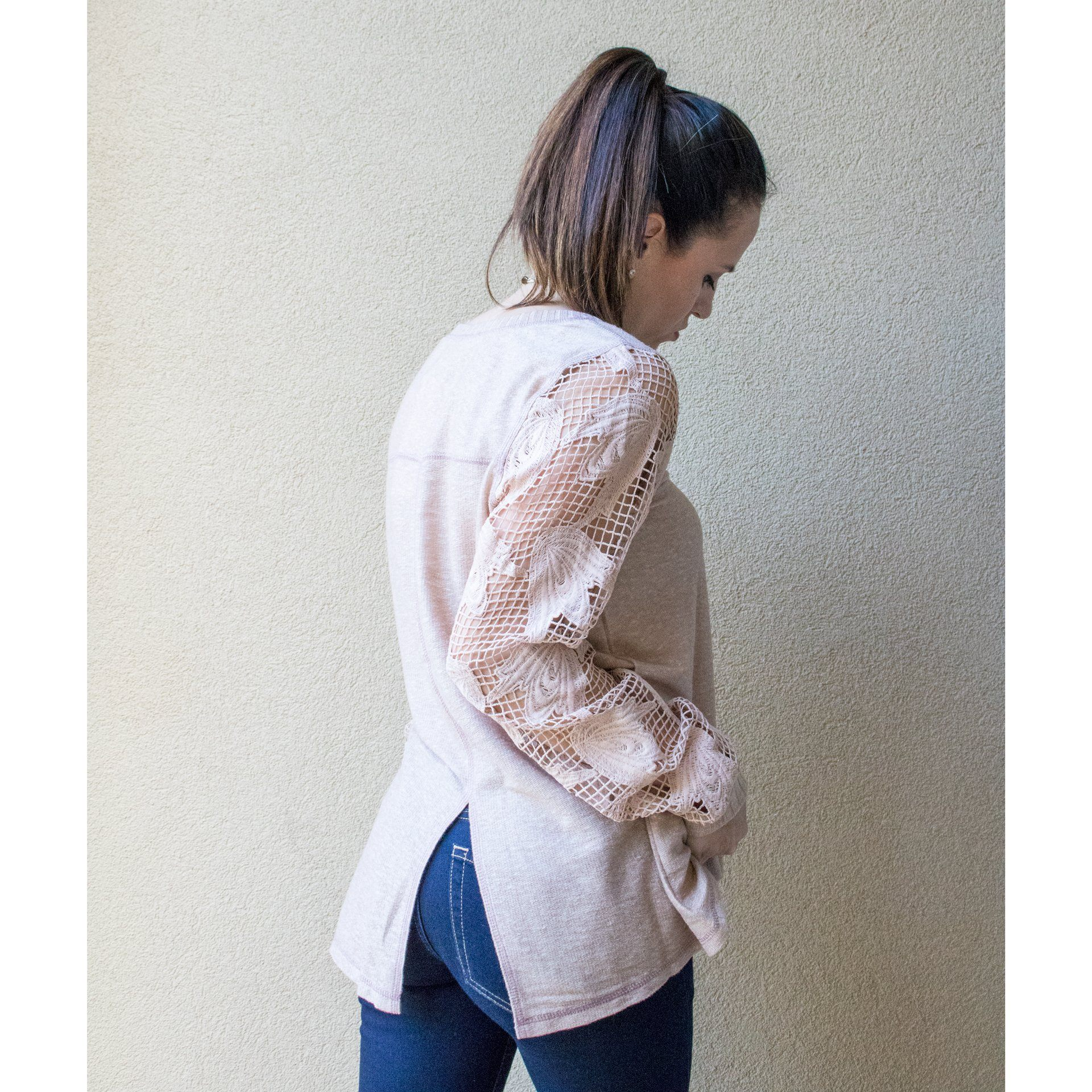 Taupe Top with Long Sleeves in Sheer Floral Mesh - Arlo and Arrows