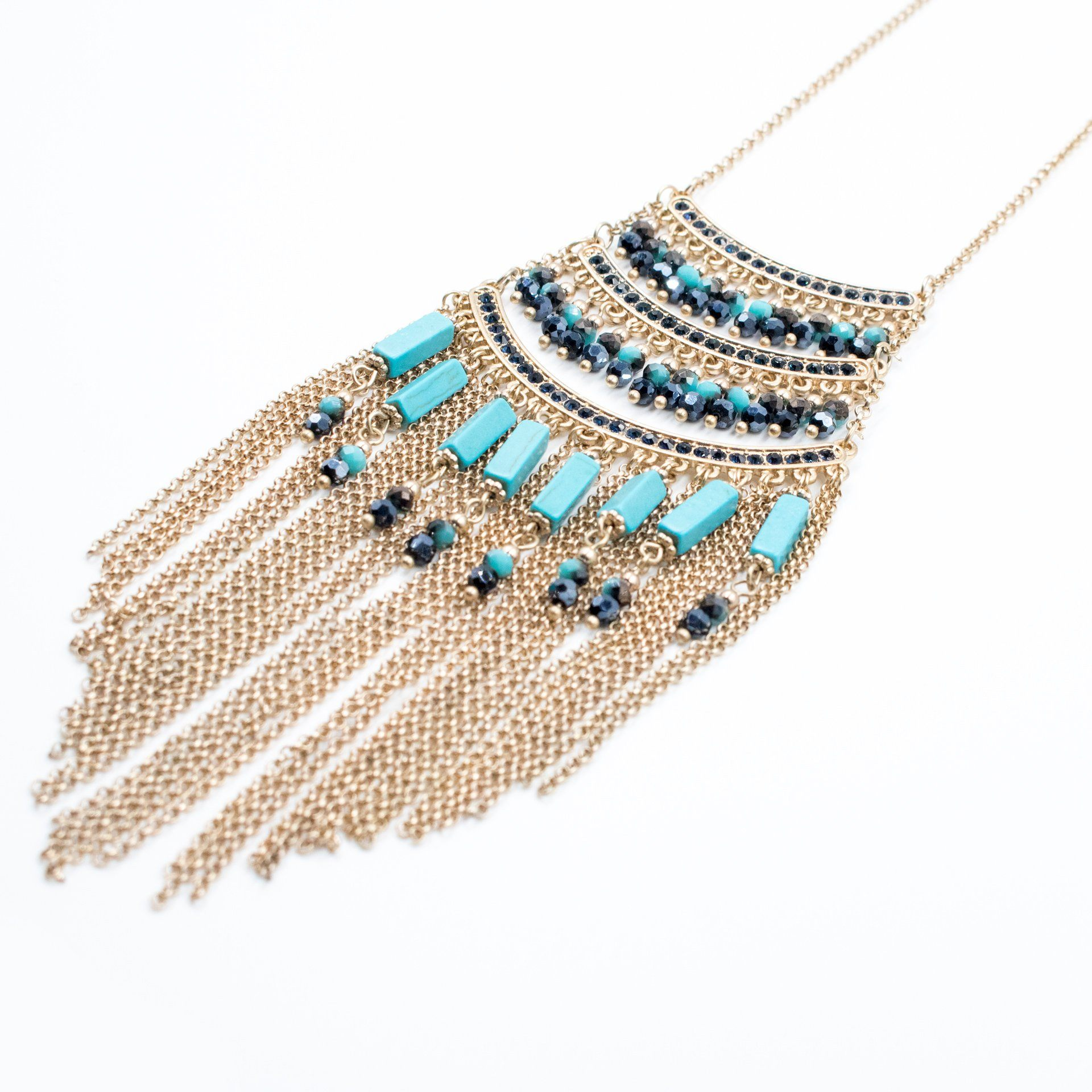 Womens Tribal Turquoise Tassel Necklace